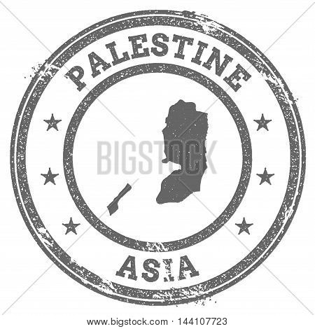 Palestine Grunge Rubber Stamp Map And Text. Round Textured Country Stamp With Map Outline. Vector Il