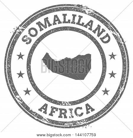 Somaliland Grunge Rubber Stamp Map And Text. Round Textured Country Stamp With Map Outline. Vector I