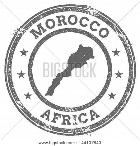 Morocco Grunge Rubber Stamp Map And Text. Round Textured Country Stamp With Map Outline. Vector Illu