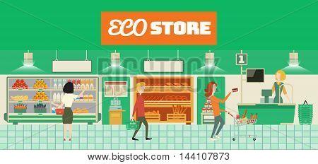 Eco food store interior. Cartoon vector illustration