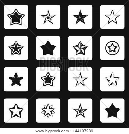 Star icons set in simple style. Black and white stars set collection vector illustration