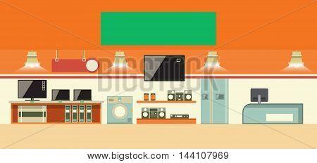 Consumer electronics shop interior. Cartoon vector illustration