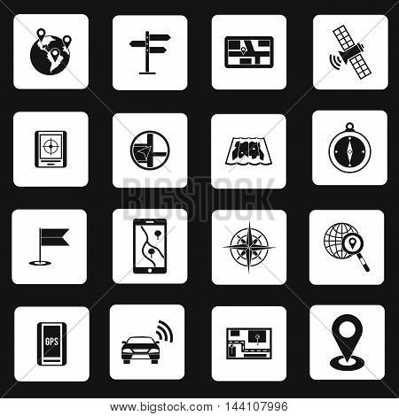 Navigation icons set in simple style. Location on terrain set collection vector illustration