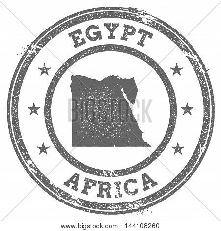 Egypt Grunge Rubber Stamp Map And Text. Round Textured Country Stamp With Map Outline. Vector Illust