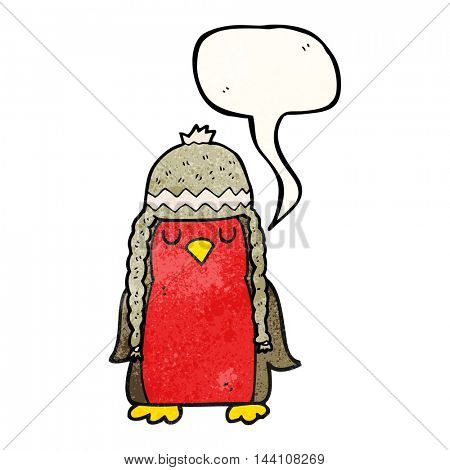 freehand speech bubble textured cartoon robin wearing winter hat