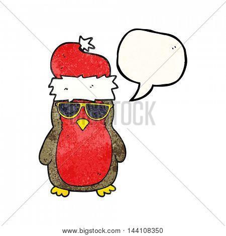 freehand speech bubble textured cartoon cool christmas robin