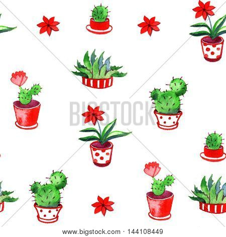 watercolor pattern plants cactus with red flowers