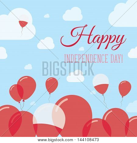 Poland Independence Day Flat Patriotic Design. Polish Flag Balloons. Happy National Day Vector Card.