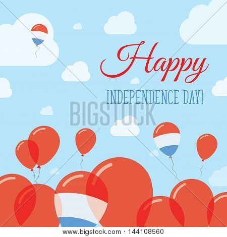 Luxembourg Independence Day Flat Patriotic Design. Luxembourger Flag Balloons. Happy National Day Ve
