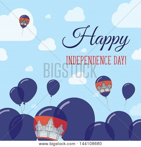 Cambodia Independence Day Flat Patriotic Design. Cambodian Flag Balloons. Happy National Day Vector