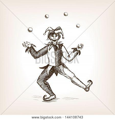 Medieval jester juggling sketch style vector illustration. Old engraving imitation.