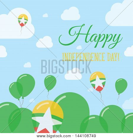 Myanmar Independence Day Flat Patriotic Design. Myanmarian Flag Balloons. Happy National Day Vector