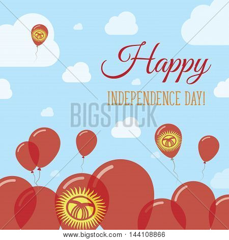 Kyrgyzstan Independence Day Flat Patriotic Design. Kirghiz Flag Balloons. Happy National Day Vector