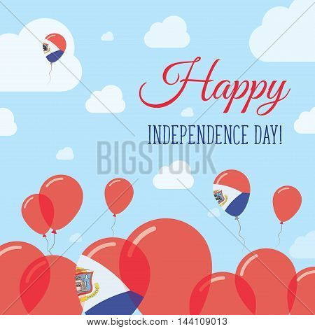 Sint Maarten Independence Day Flat Patriotic Design. Dutch Flag Balloons. Happy National Day Vector