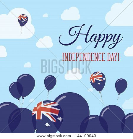 Australia Independence Day Flat Patriotic Design. Australian Flag Balloons. Happy National Day Vecto