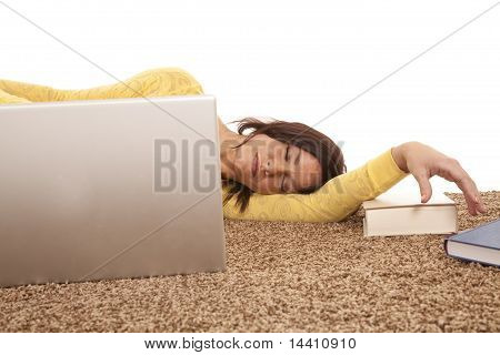 Woman Asleep Behind Computer