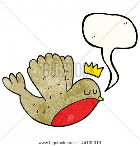freehand speech bubble textured cartoon flying christmas robin with crown