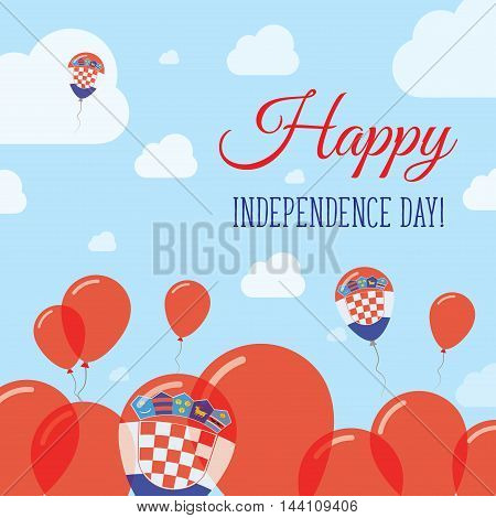 Croatia Independence Day Flat Patriotic Design. Croatian Flag Balloons. Happy National Day Vector Ca