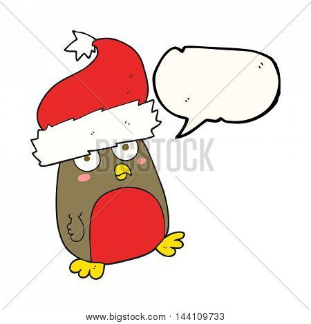freehand drawn speech bubble cartoon christmas robin wearing christmas hat