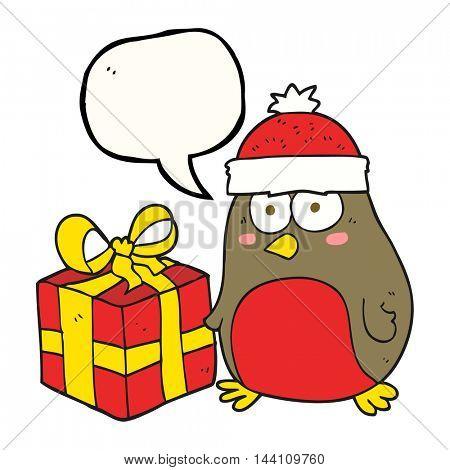 freehand drawn speech bubble cartoon christmas robin