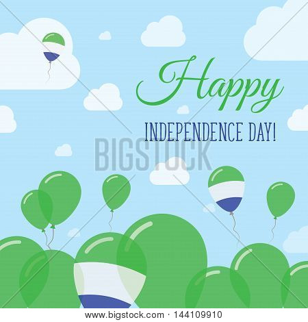 Sierra Leone Independence Day Flat Patriotic Design. Sierra Leonean Flag Balloons. Happy National Da