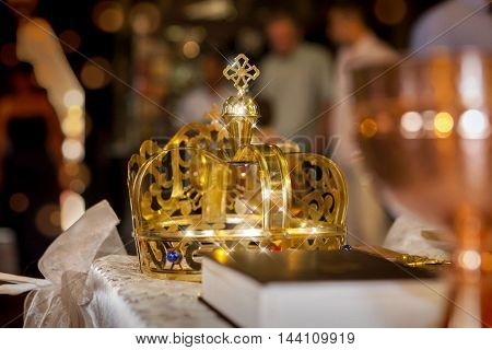 church ritual crown at wedding with stars