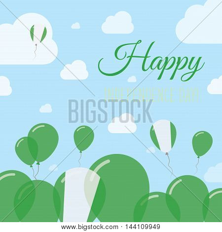 Nigeria Independence Day Flat Patriotic Design. Nigerian Flag Balloons. Happy National Day Vector Ca