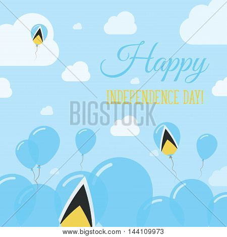 Saint Lucia Independence Day Flat Patriotic Design. Saint Lucian Flag Balloons. Happy National Day V