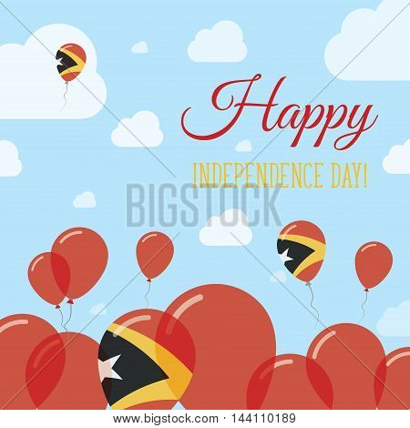 Timor-leste Independence Day Flat Patriotic Design. East Timorese Flag Balloons. Happy National Day