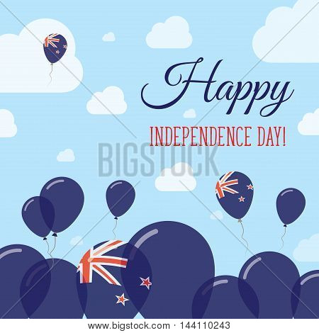 New Zealand Independence Day Flat Patriotic Design. New Zealander Flag Balloons. Happy National Day