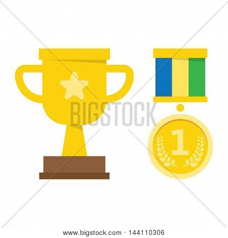 Icon set Golden symbols awarding and victory - champion cup, medal. Flat design style.
