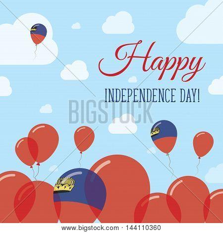 Liechtenstein Independence Day Flat Patriotic Design. Liechtensteiner Flag Balloons. Happy National