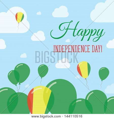 Guinea Independence Day Flat Patriotic Design. Guinean Flag Balloons. Happy National Day Vector Card