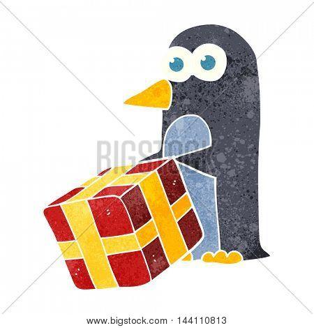 freehand retro cartoon penguin with christmas present