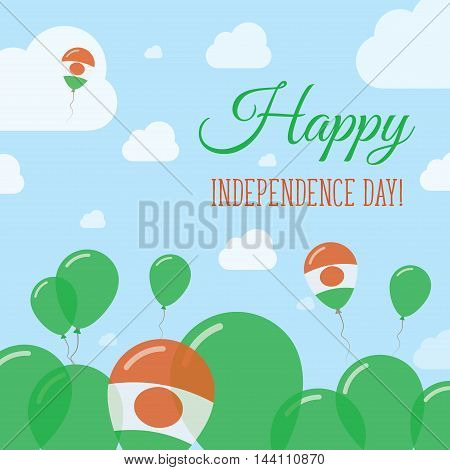 Niger Independence Day Flat Patriotic Design. Nigerian Flag Balloons. Happy National Day Vector Card