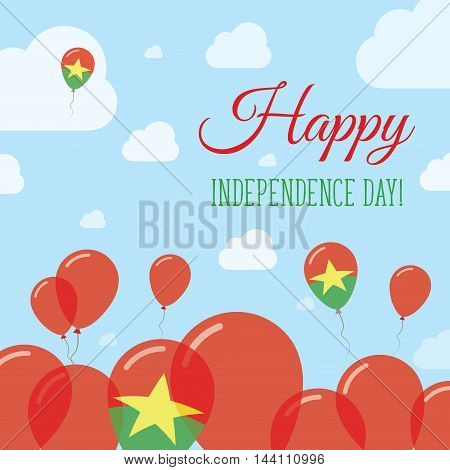 Burkina Faso Independence Day Flat Patriotic Design. Burkinabe Flag Balloons. Happy National Day Vec