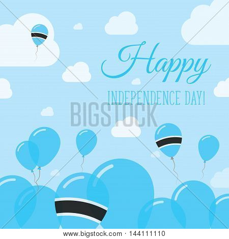 Botswana Independence Day Flat Patriotic Design. Motswana Flag Balloons. Happy National Day Vector C