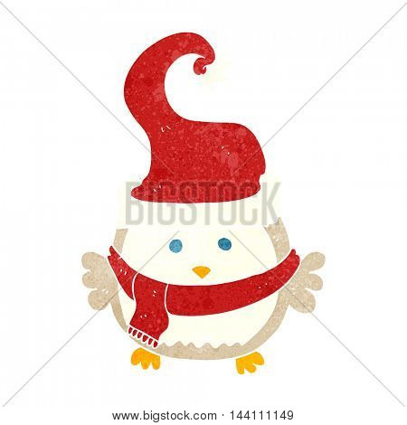 freehand retro cartoon owl wearing christmas hat