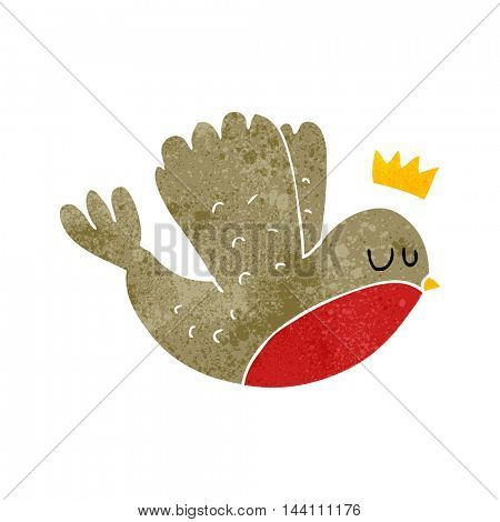 freehand retro cartoon flying christmas robin with crown