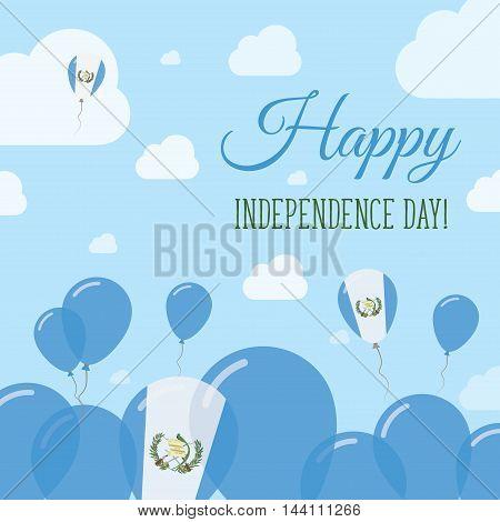 Guatemala Independence Day Flat Patriotic Design. Guatemalan Flag Balloons. Happy National Day Vecto
