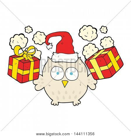 freehand drawn cartoon christmas owl
