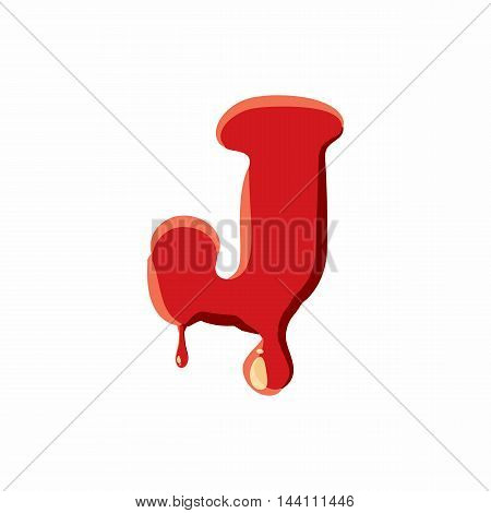 J letter isolated on white background. Red bloody J letter vector illustration
