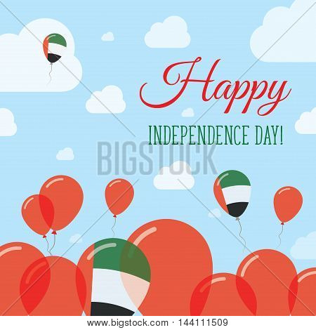 United Arab Emirates Independence Day Flat Patriotic Design. Emirian Flag Balloons. Happy National D
