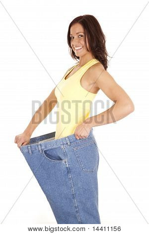 Woman Showing Off Weight Loss