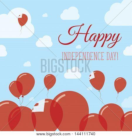 Tonga Independence Day Flat Patriotic Design. Tongan Flag Balloons. Happy National Day Vector Card.