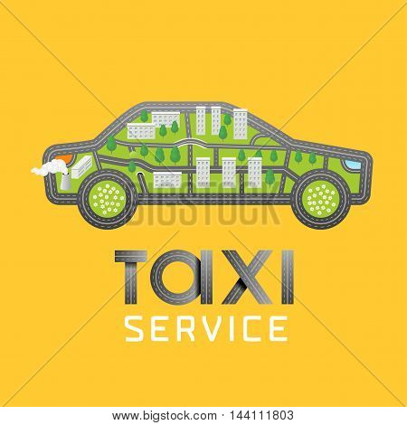 Taxi cab vector logo icon. Car hire black and yellow background badge app emblem. Taxicab made with map signs design
