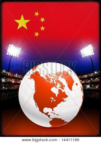 China Flag with Globe on Stadium Background Original Illustration