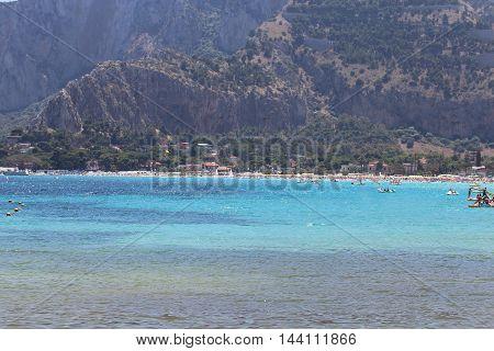 beautiful sicilian seascape near Palermo, south Italy