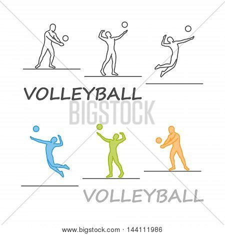 Vector silhouette of volleyball players. Modern outline volleyball logo.