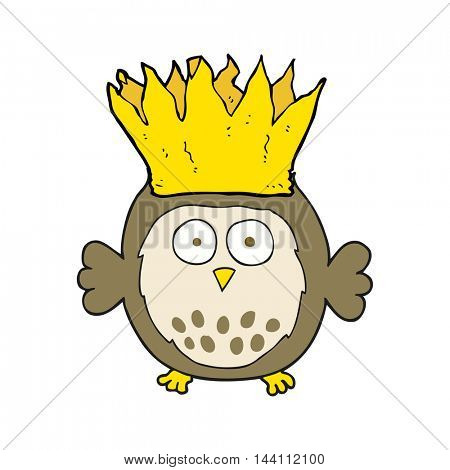 freehand drawn cartoon owl wearing paper crown christmas hat